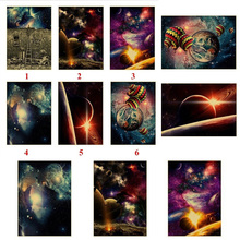 Starry Galaxy begins near the art of kraft paper poster wall