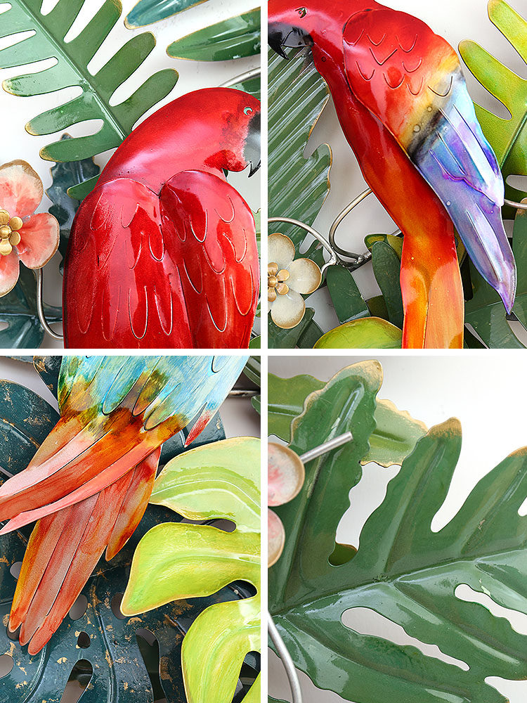 Creatieve Smeedijzeren Tropische Bloemen Vogels Muur Opknoping Ornament Decoratie Thuis Veranda Sofa Achtergrond 3D Muursticker Ambachten - 6