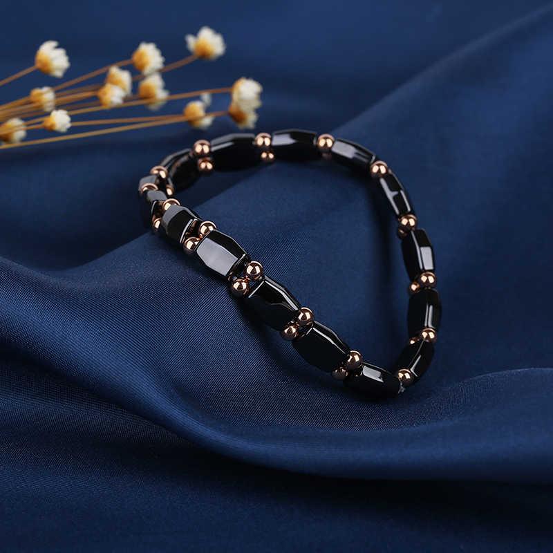 8mm Width 585 Rose Gold Bead Bangle Smooth Black Ceramic Elasticity Bracelet Healthy For Women Men Adjustble Unisex Wedding Gift