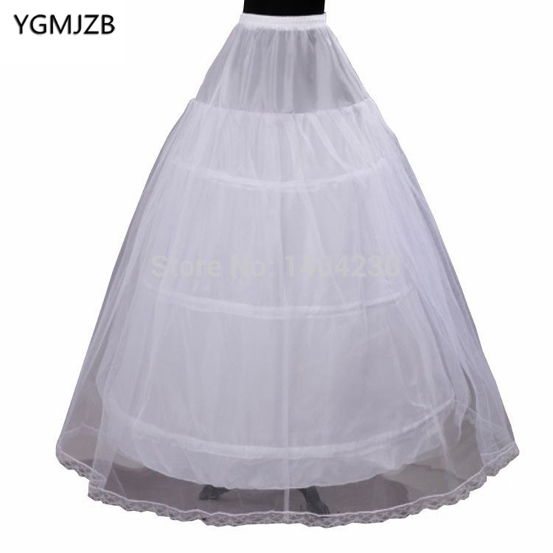 2018 Hot Sale White 3-Hoop 1 Layer Tulle A Line Petticoat Bridal Wedding Accessories Crinoline Underskirts