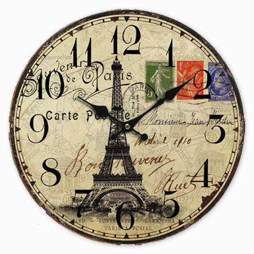 Retro Vintage Style Large Clock French Paris Eiffel Tower Stamp Home ...