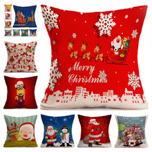 Hot Christmas Decorations For Home 1pcs Reindeer Jute Pillow Cover Case MERRY CHRISTMAS Square Linen Kerst Noel