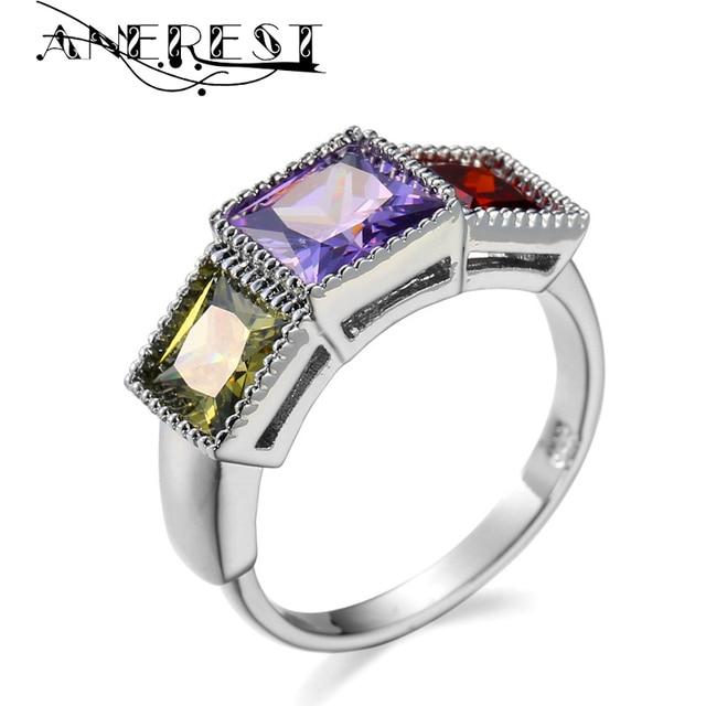 vintage design square female wedding ring bluegreenred zircon engagement rings wholesale wedding jewelry stone gifts r02382 - Wholesale Wedding Rings