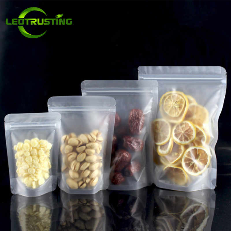 Leotrusting 100pcs Stand up Frosted Plastic Ziplock Bag Matt Translucent Coffee Matt Beverage Snack Cookie Gift Packaging Bags