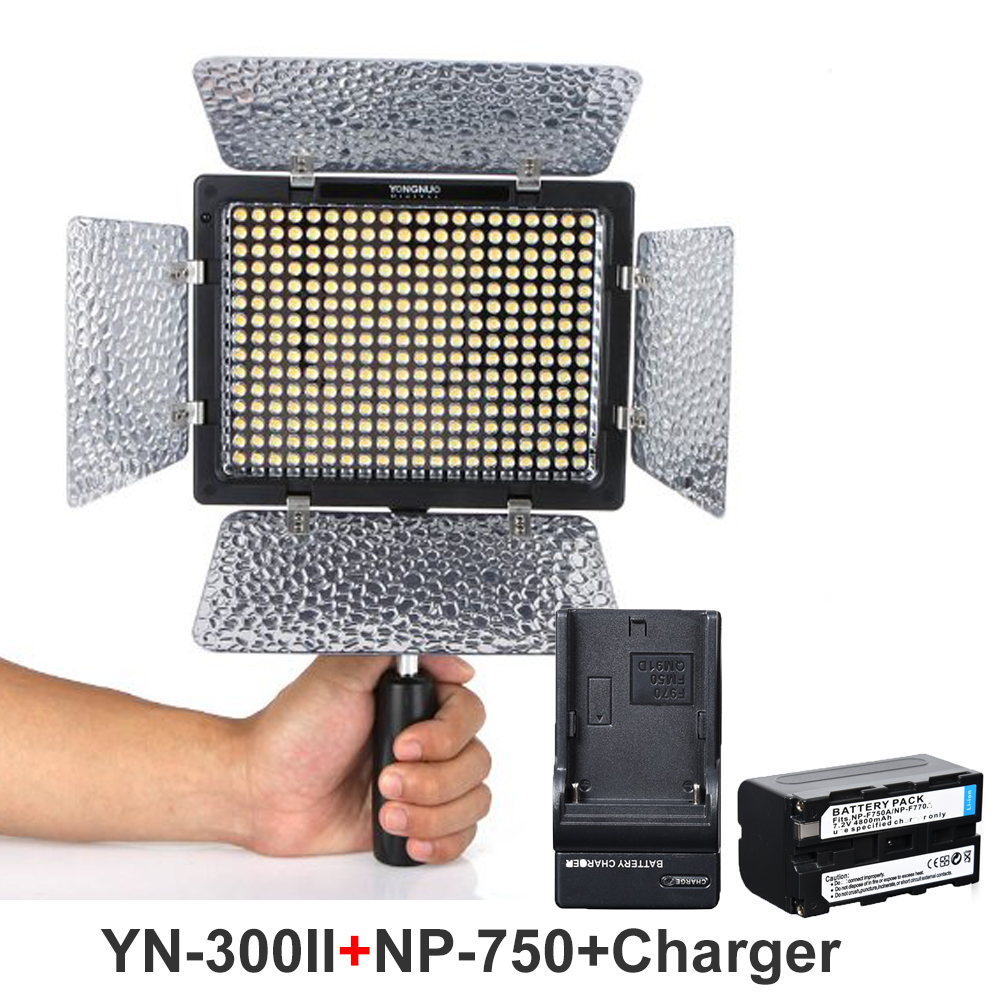 YONGNUO YN-300II 3200K-5500K LED Video Light + NP-F750 + Charger Camera Camcorder with Remote Control for Canon Nikon SONY DSLR yongnuo yn300 air 3200k 5500k yn 300 air pro led camera video light with np f550 battery and charger for canon nikon
