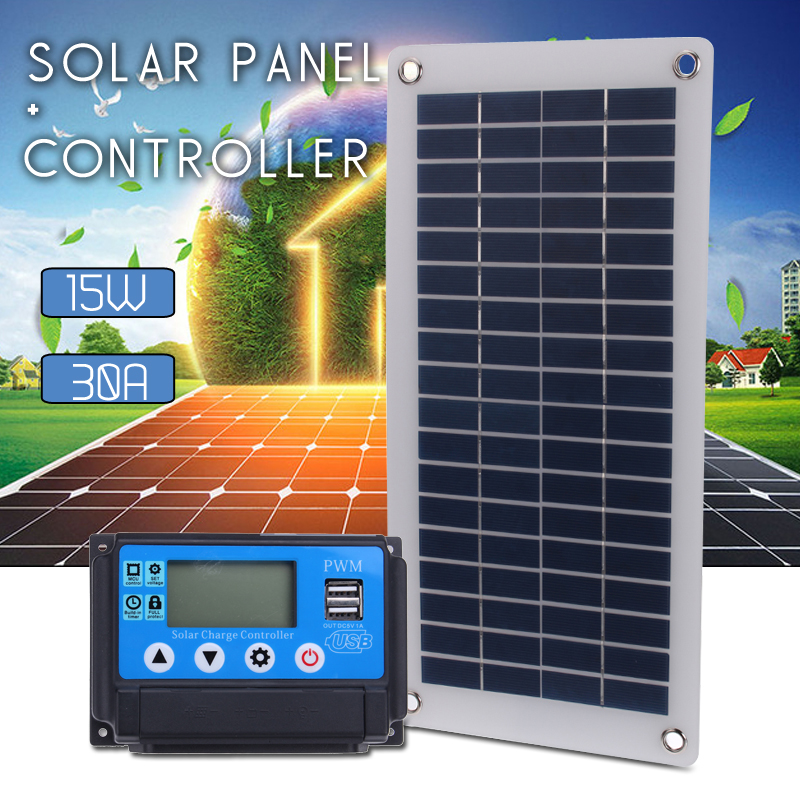 30A Solar Charge Controller Regulator + 15W Solar Panel 12/24V Portable Power Bank Board Automatic Identification PWN Battery 30a solar charge controller regulator 15w solar panel 12 24v portable power bank board automatic identification pwn battery