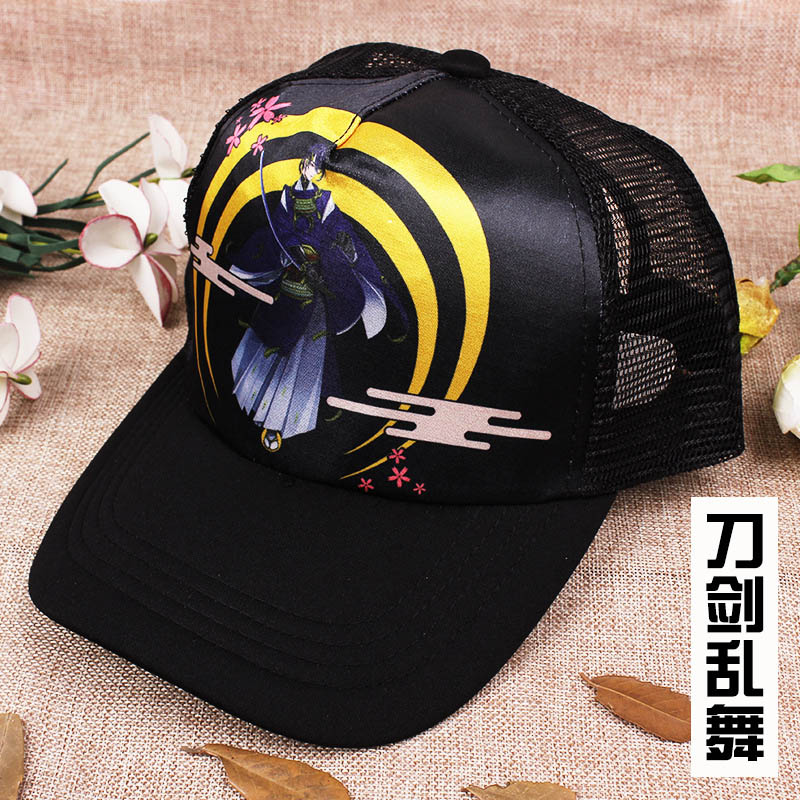 Anime Game Touken Ranbu Online Colorful Printing With Sun Mesh Cap Adjustable Casual Outdoor Hat