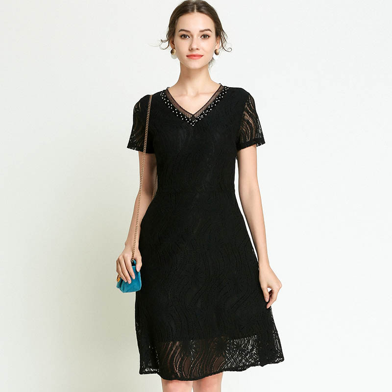 2018 Elegant Lace Dress Black Party Dresses Beading Maternity Dresses Casual Pregnancy Dress Loose V-Neck Plus Size 5XL white casual round neck ruffled dress