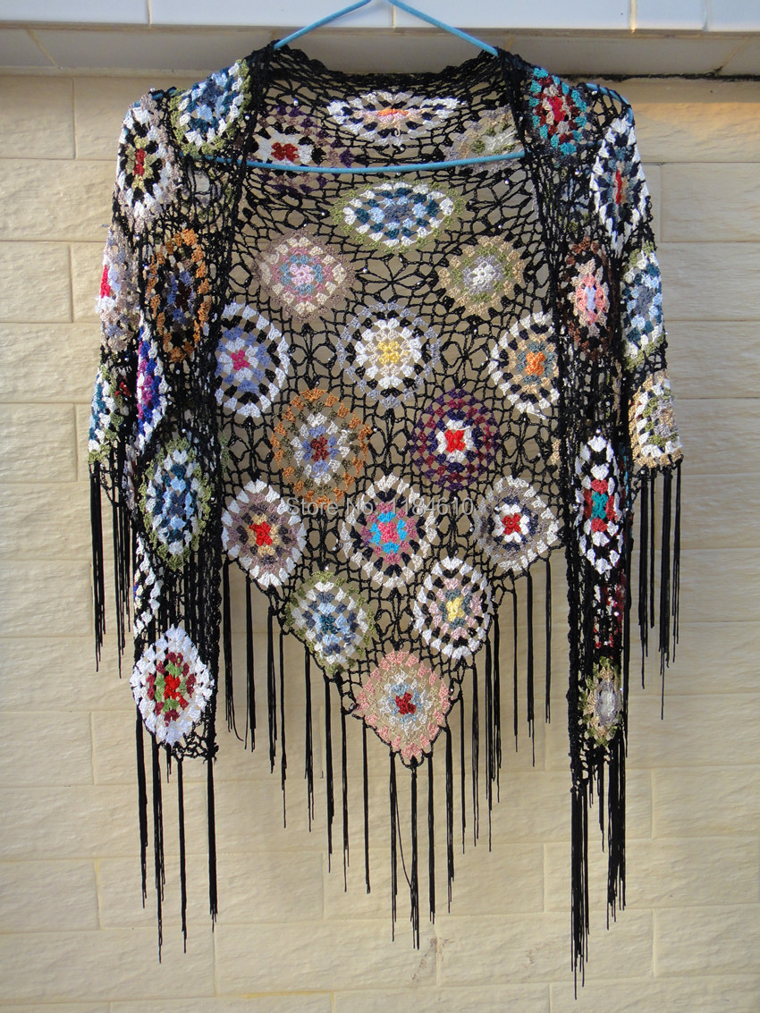 Black Triangle Shawls Wraps with Tassel in Granny Square Pattern-in ...
