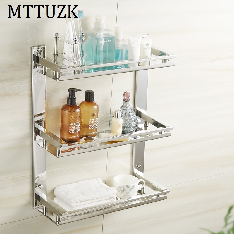 MTTUZK DIY Bathroom shelves 304 stainless steel 3 layer cosmetic rack Toothbrush mouthwash holder Bathroom Shelf Towel rackMTTUZK DIY Bathroom shelves 304 stainless steel 3 layer cosmetic rack Toothbrush mouthwash holder Bathroom Shelf Towel rack