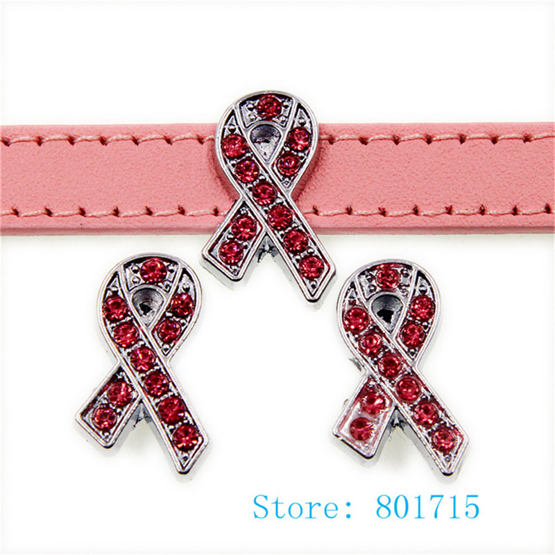 10pcs SL512 pink rhinestone ribbon Internal Dia. 10mm slide Charms fit 10mm wristband pet collar key chain Jewelry Finding