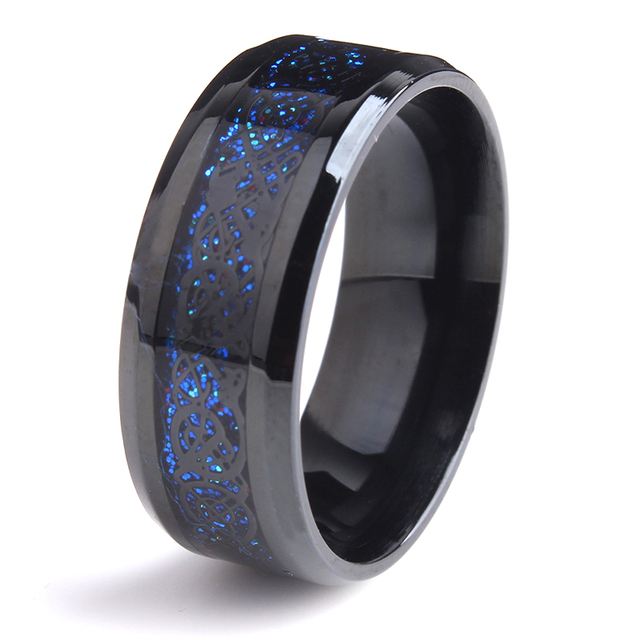 Free Shipping 8mm Black Dragon Blue Carbon Fiber Wedding Rings For Women  316L Stainless Steel Men