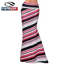 2bb2eb66500b9f TOTRUST Sexy Lange Streep Rokken Vrouwen 2018 Plus Size Hoge taille Casual  Rok Zomer Slanke Dames Casual Print Jersey Rok Saias