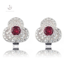 Noble Generous Silver Plated Red and White Cubic Zirconia Earrings R3126 Christmas gift Pretty Lady luxurious Recommend Bohemia