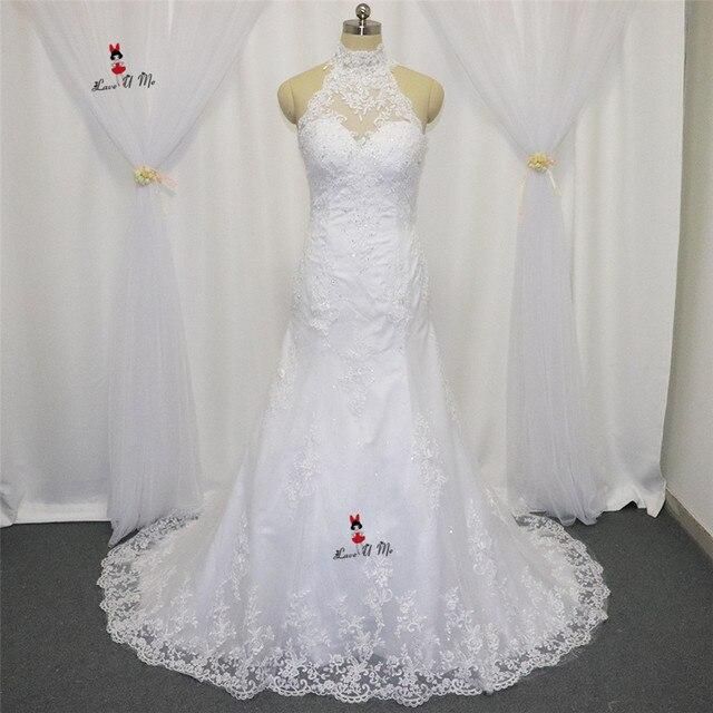 Vintage High Neck Hochzeitskleid Spitze Meerjungfrau Brautkleider ...