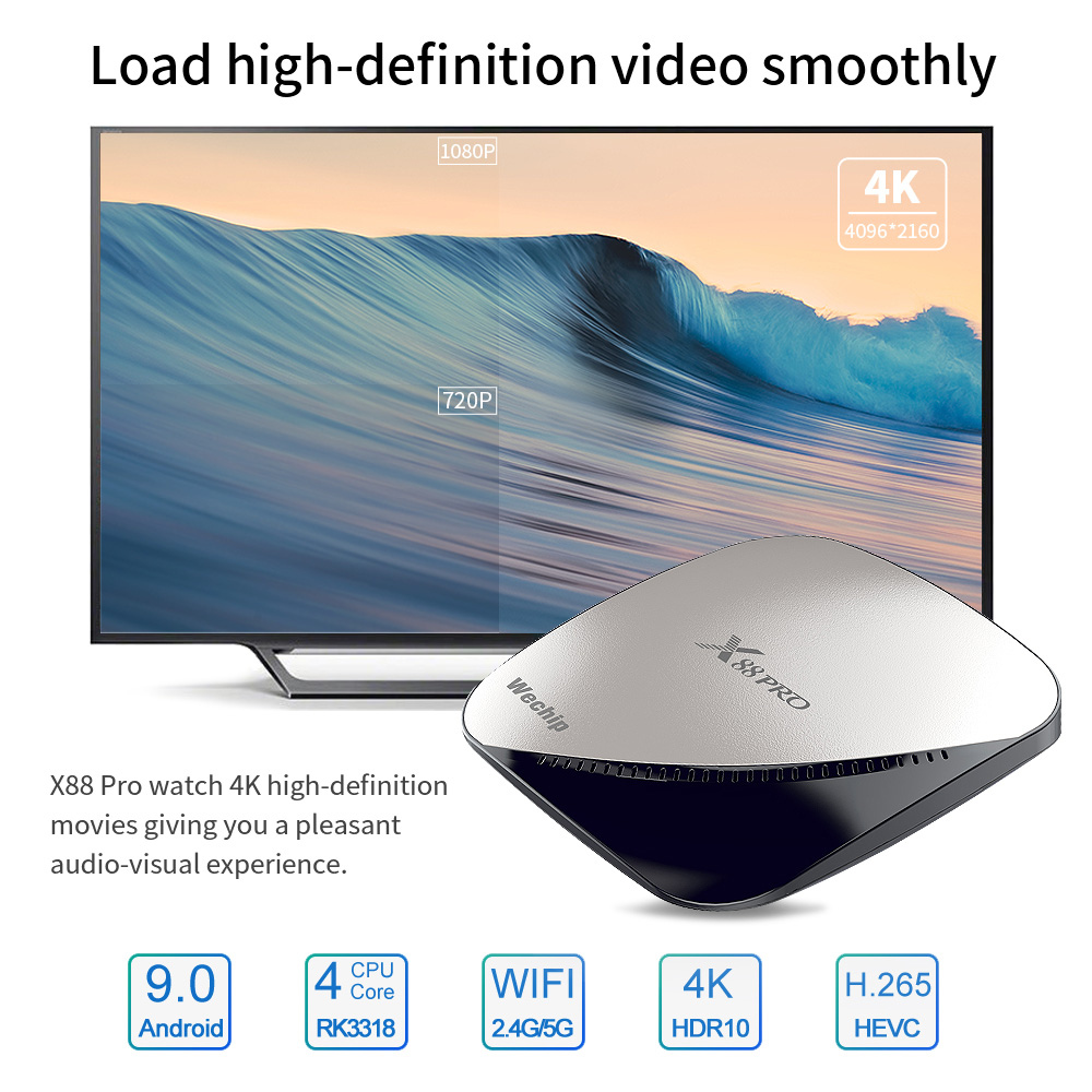 Image 3 - Wechip X88 pro Android 9.0 TV Box 4G 64G Rockchip RK3318 4 Core 2.4G&5G Wifi 4K HDR Set Top Box USB 3.0 Support 3D Movie Ott Box-in Set-top Boxes from Consumer Electronics