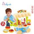 Niños pretend kitchen toys mini barbacoa jouet simulación barbacoa music & light temprano educativo del bebé toys toys de cocina de plástico