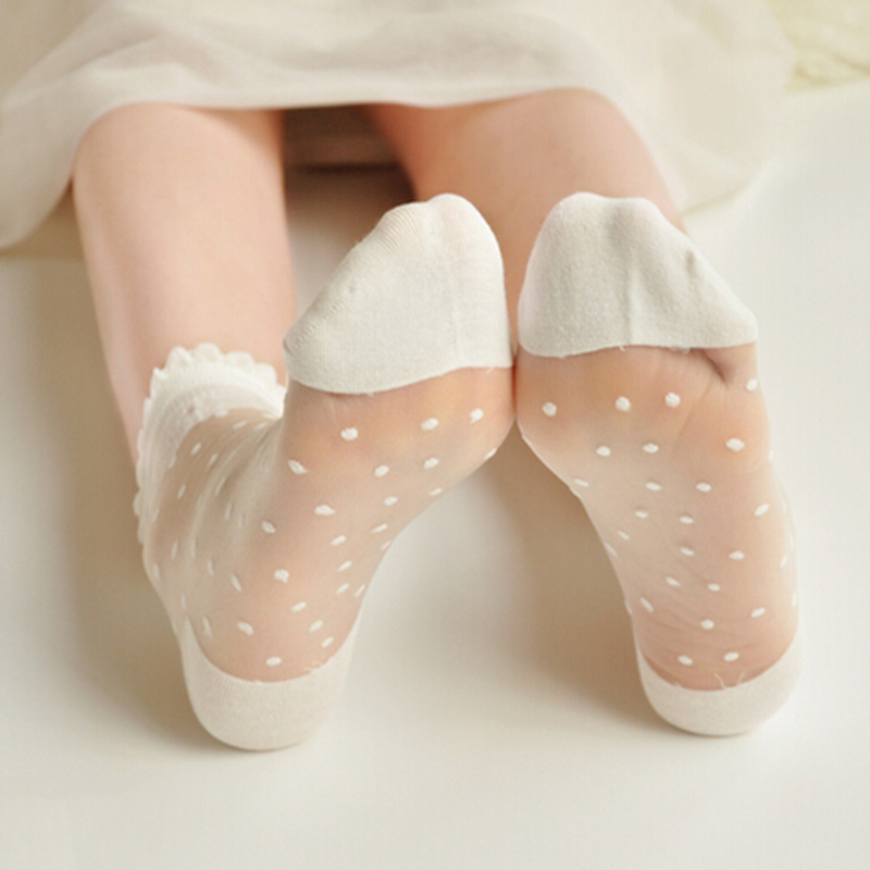 Socks Ultra thin Transparent Lady Crystal Lace Elastic Summer Ankle Short Women