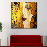 Christmas Gifts Modern Oil Painting Canvas Art Abstract Gustav Klimt Golden Tears Wall Pictures For Living Room Bedroom Decor