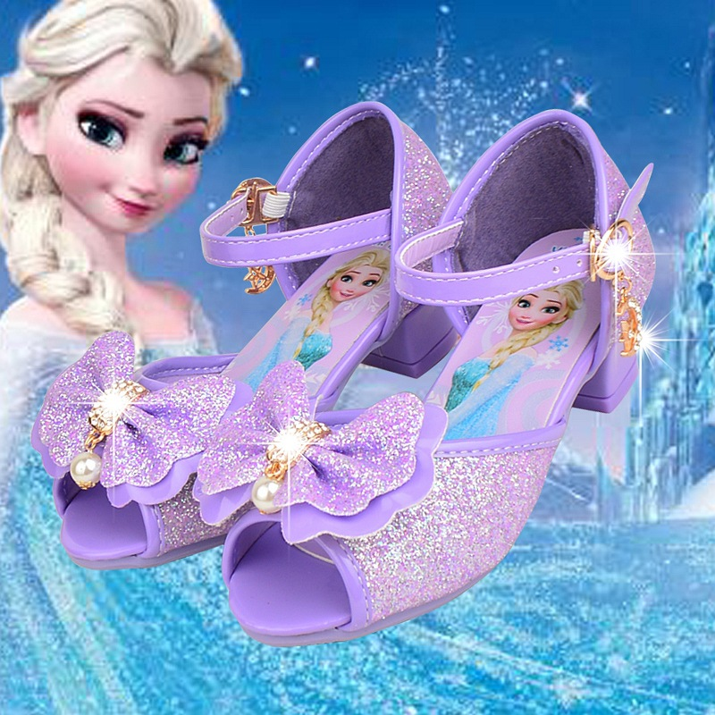 2018 summer Disney new girl fish mouth high heel sandals princess shoes children's shoes Frozen Korean dance shoes Aisha shoes