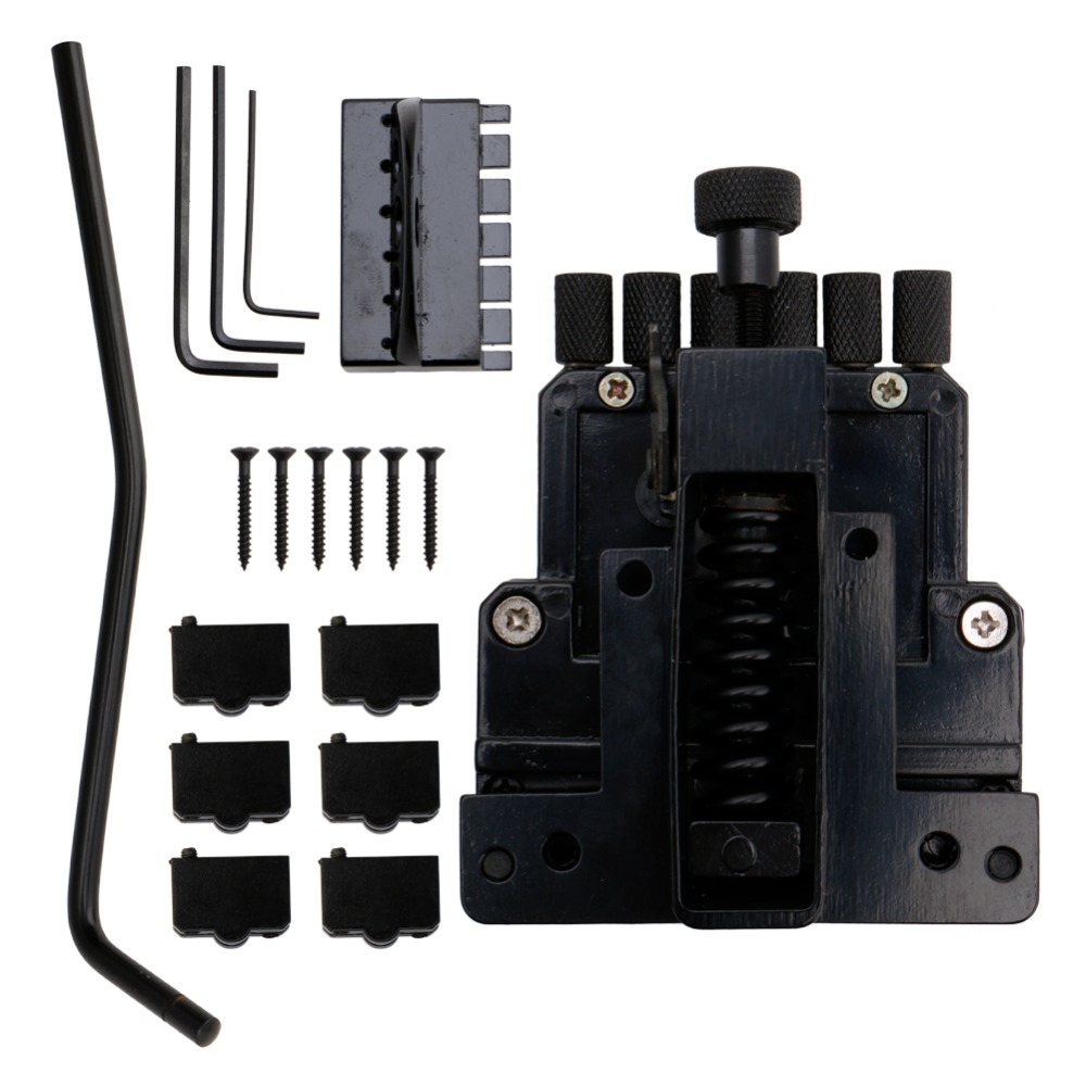 6 String Saddle Guitar Tailpiece Tremolo Bridge For Headless Guitar Replacement new black 6 strings guitar tailpiece tremolo bridge roller saddle tremolo bridge tailpiece for tremolo bridge w arm