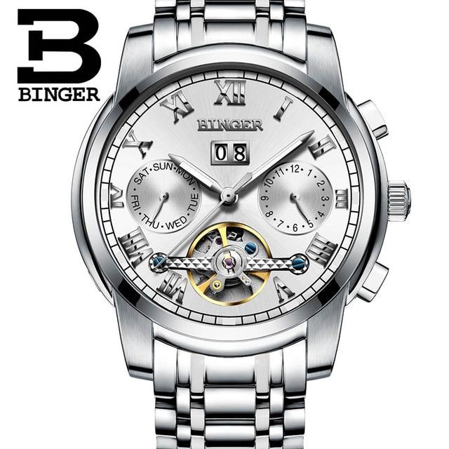 Original BINGER Men Mechanical Watches Men Luxury Brand Full Steel Waterproof 30m Business Automatic Wristwatches For Men | Fotoflaco.net