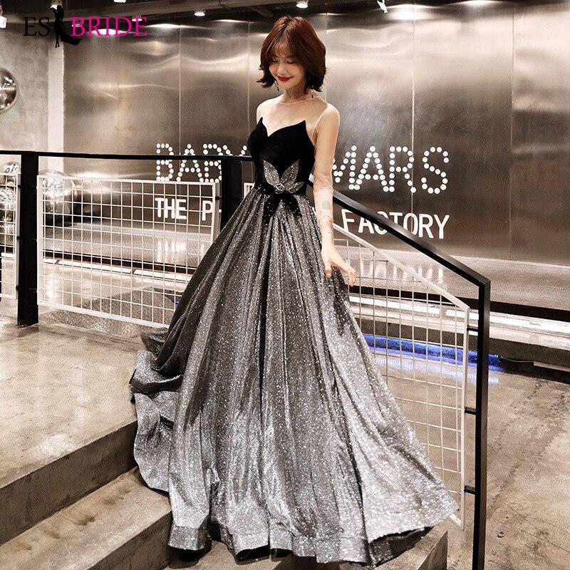 Sexy robe de soirée sans bretelles longue noir ciel étoilé robes d'occasion spéciale dos nu robes de soirée 2019 robe noire ES2503