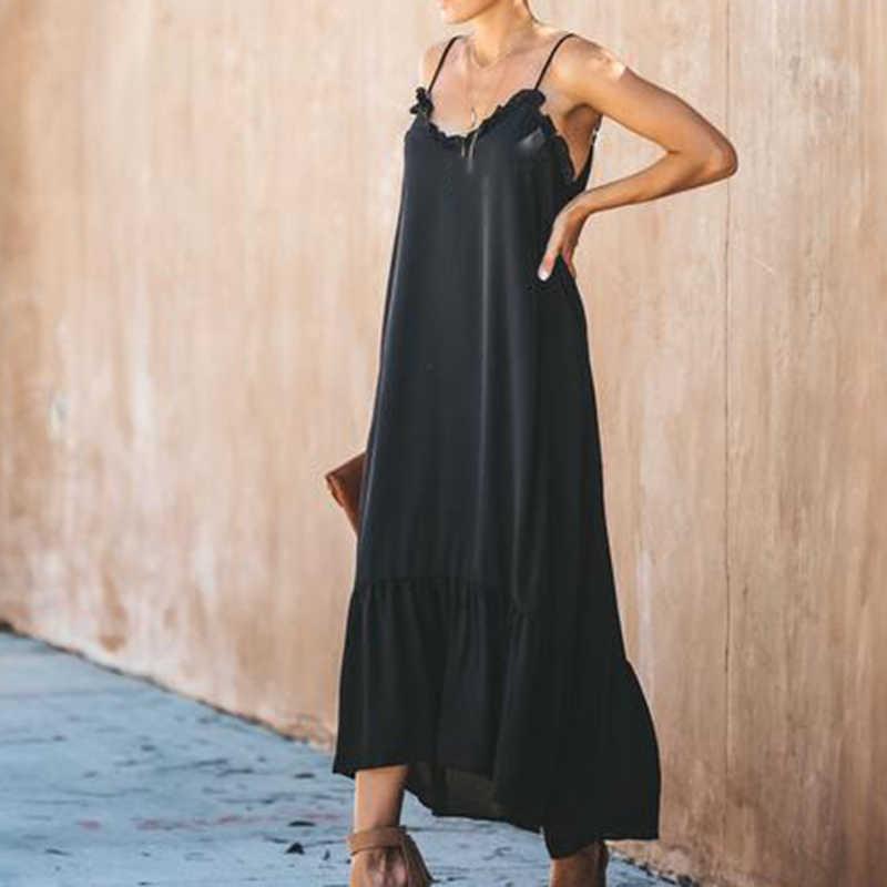 2019 mode robe d'été nouilles sangles lâche décalage Maxi robe femmes volant dos nu volants Vocation robe