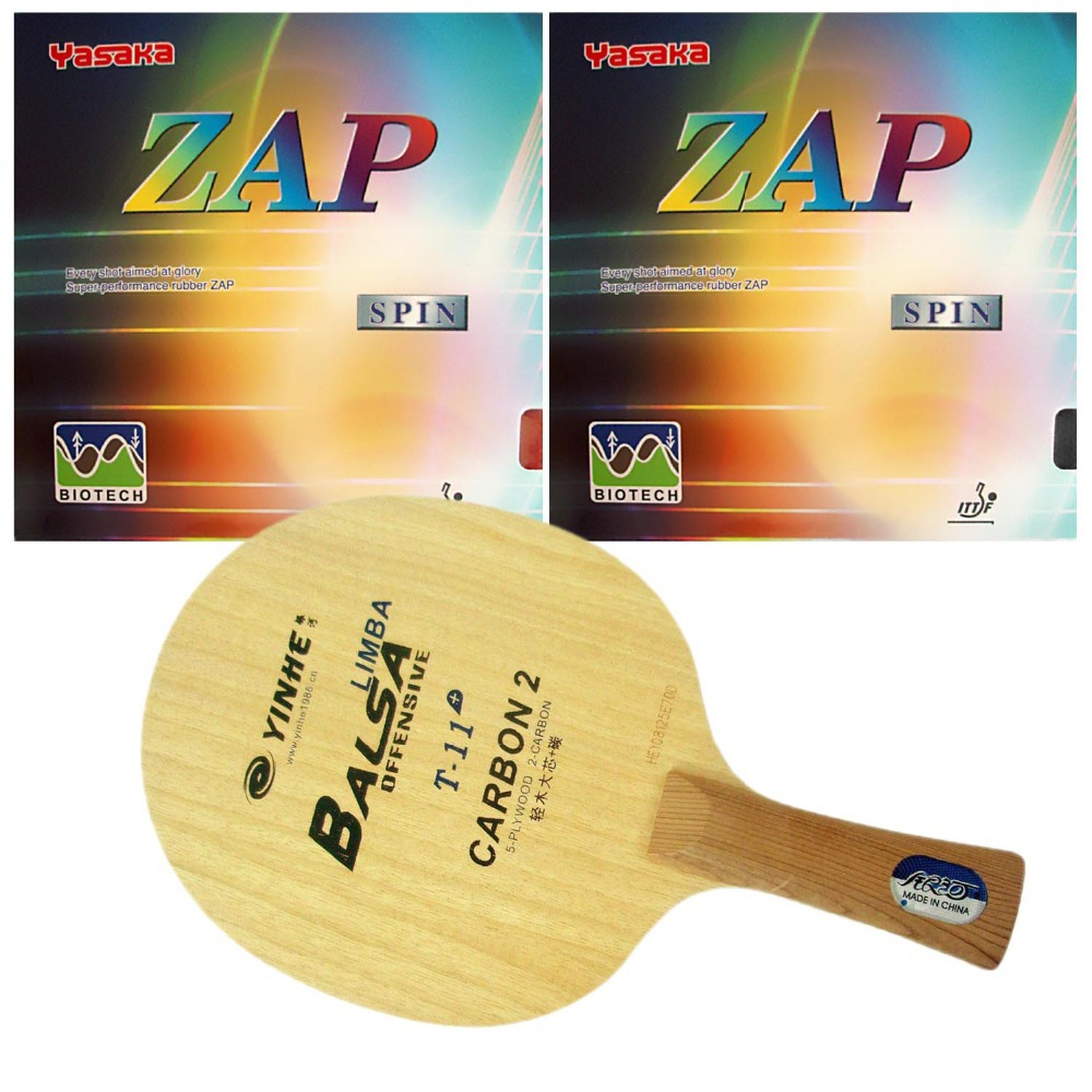 Pro Table Tennis PingPong Combo Racket Galaxy YINHE T-11+ with 2 Pieces Yasaka ZAP Spin BIOTECH NO ITTF Long Shakehand-FL galaxy yinhe emery paper racket ep 150 sandpaper table tennis paddle long shakehand st