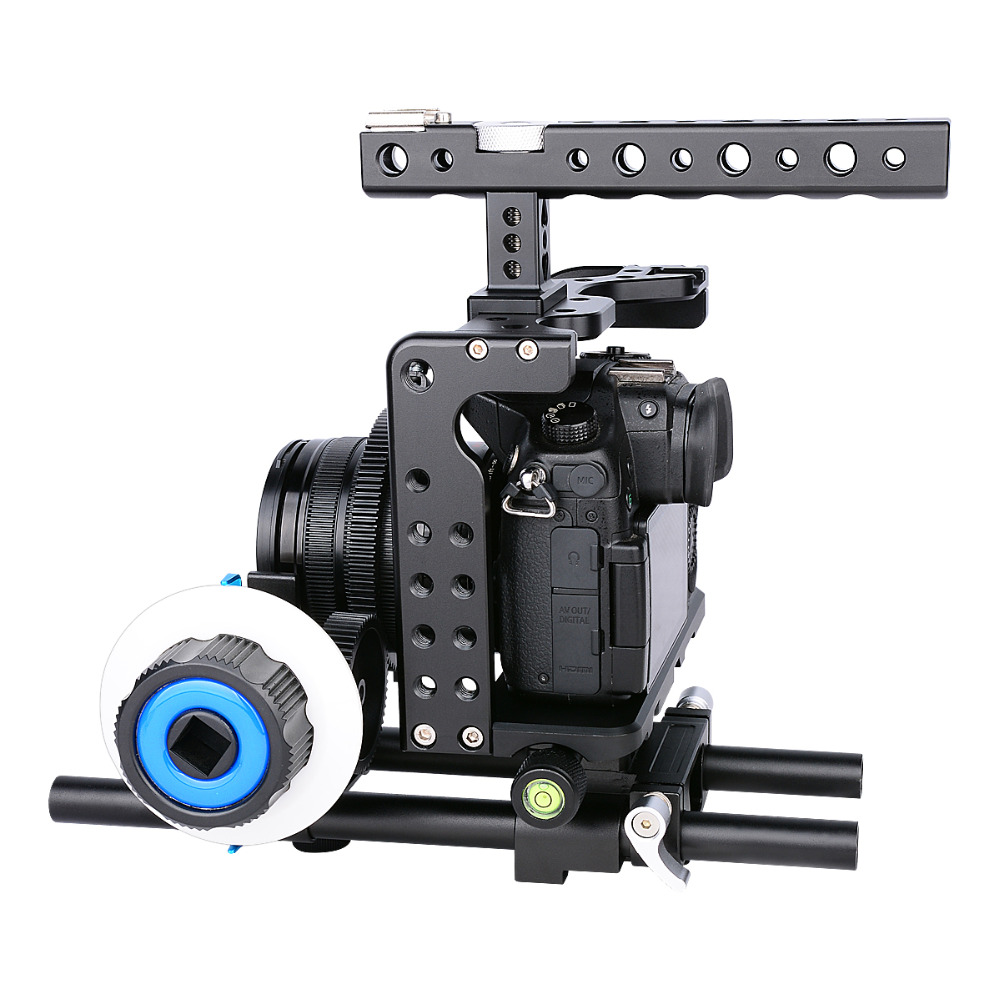 YELANGU New Arrival Aluminum Alloy durable DSLR Camera Video Lightweight Rig Cage Stabilizer /w Handle Grip for Panasonic GH4/5 viltrox 15mm rod rig dslr video cage kit stabilizer handle grip follow focus for sony a7ii a7r a7s a6300 panasonic gh4 m5