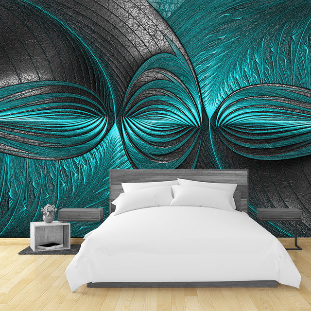 Modern 3D Wall Papers Turquoise Green Wall Painting Photo Wallpaper ...
