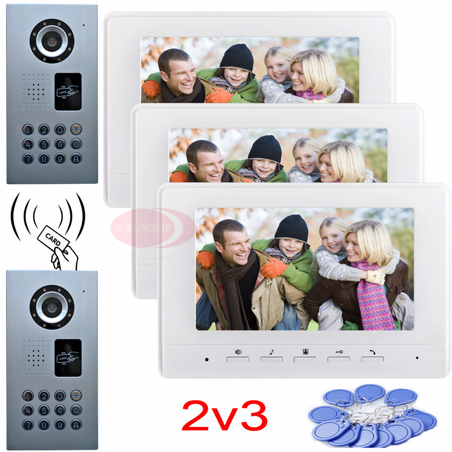 Door intercom video intercom video door phone rfid password unlock 2 waterproof ip65 ccd cameras 3 color 7inch indoor monitors 7inch 2 4ghz wireless intercom unlock video door phone with 3camera