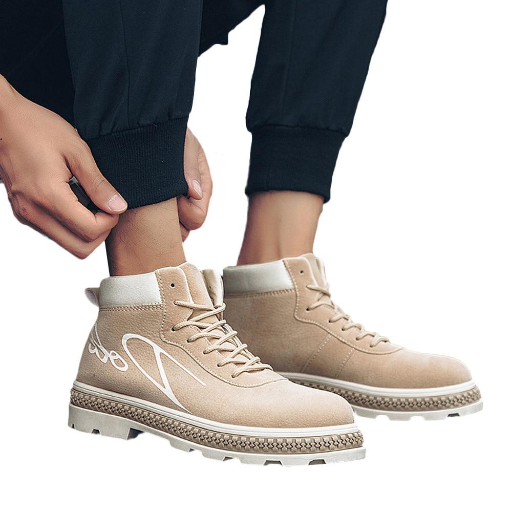 3e9d127cad khaki Youyedian Casuales Corte Trabajo Tobillo Botas De Caminando Hombres  Alto L4 Negro rojo Adultos Zapatos ...