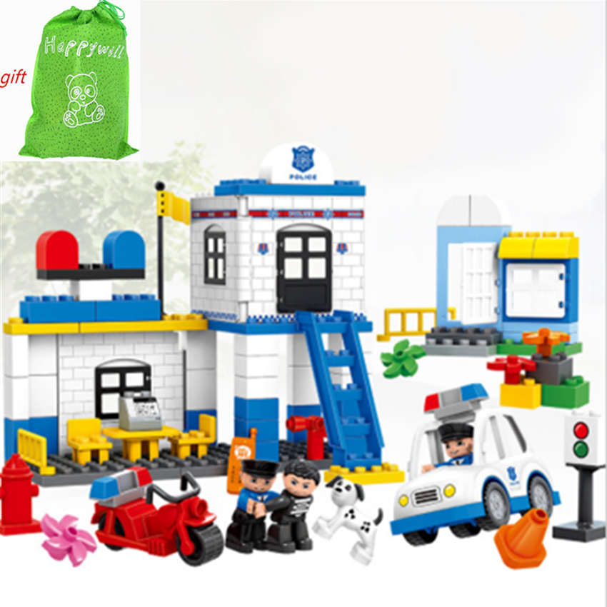 Happywill  HM066 95PCS Models building Toy enlighten blocks DIY toys Early Learning Toys for Children Police Station Blocks
