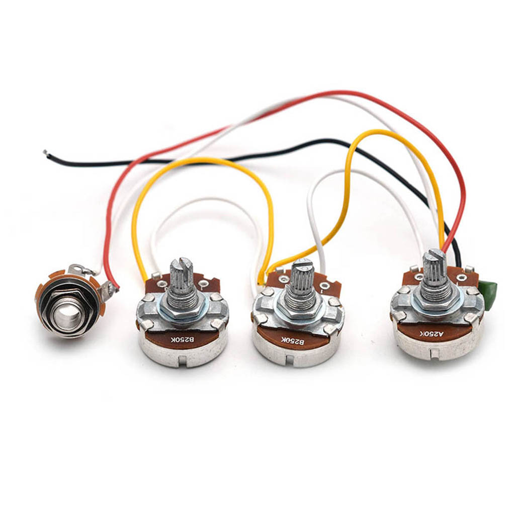 Купить с кэшбэком 1 Set DIY Bass Wiring Harness A250K B250K Potentiometers For Jazz Bass Accessory