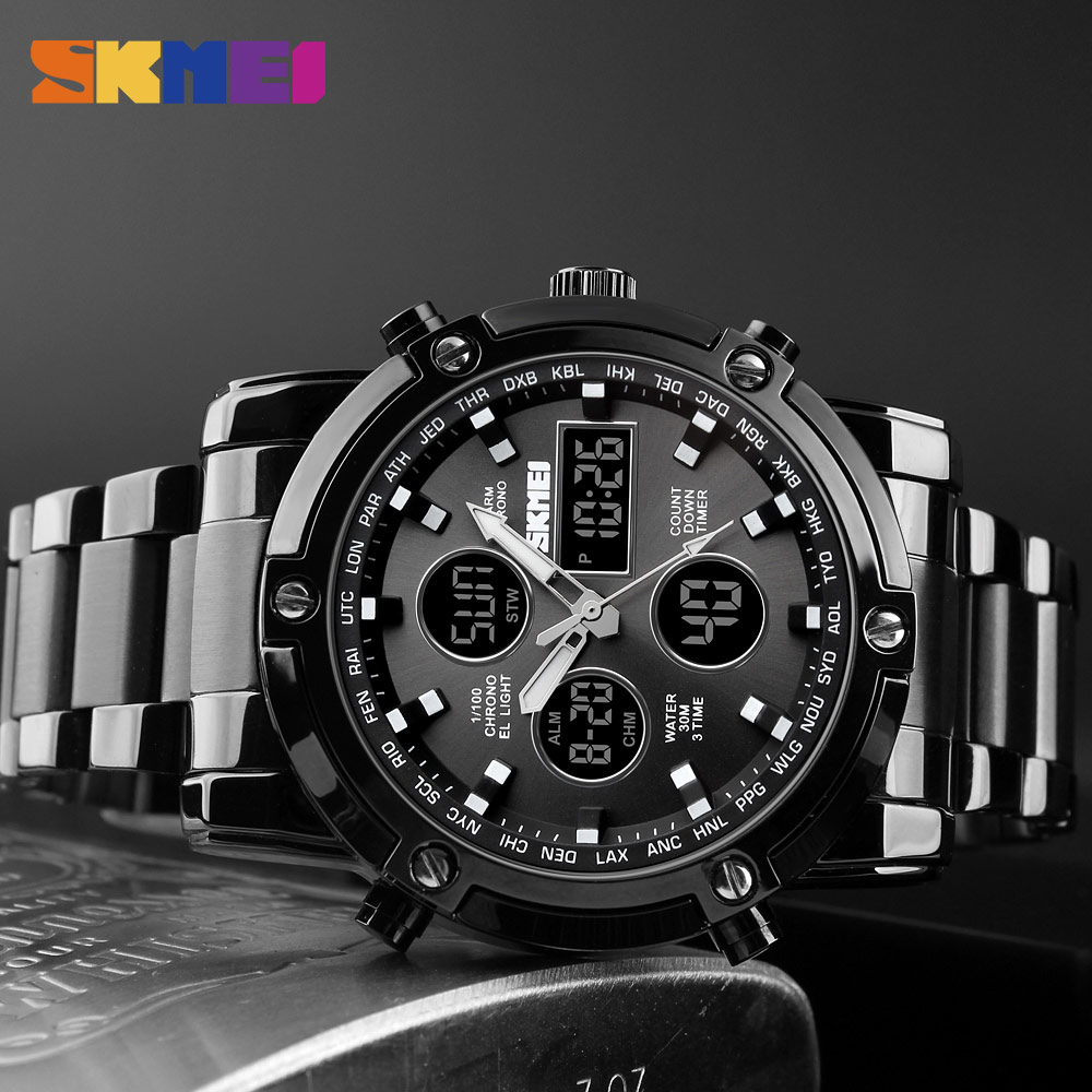 <font><b>SKMEI</b></font> Fashion Men Digital Watch Stainless Steel Dual Display Water Resistant Wristwatch Auto Date Repeater Alarm Time Clock image