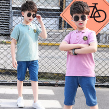 kids clothes Childrens clothing boy summer suit 2019 new casual lapel short-sleeved T-shirt straight denim shorts