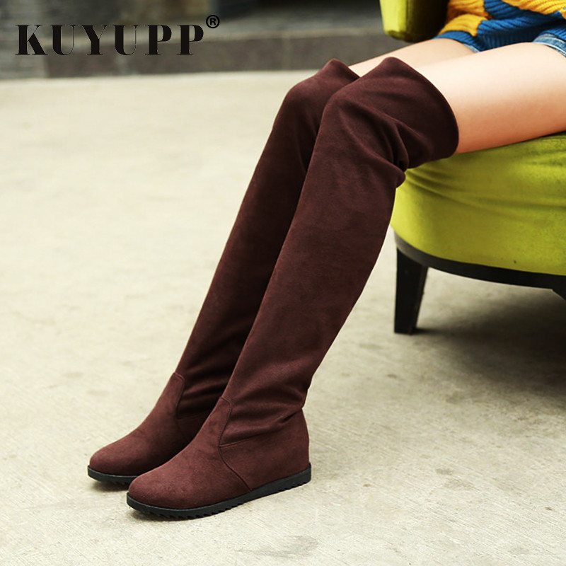 Stretch Suede Slim Thigh Knee High Woman Boots Sexy Autumn Winter Boots for women Flock Solid Black Ladies Shoes Fashion X1052 fashion women boots knee high elastic slim autumn winter warm long thigh high knitted boots woman shoes or935432