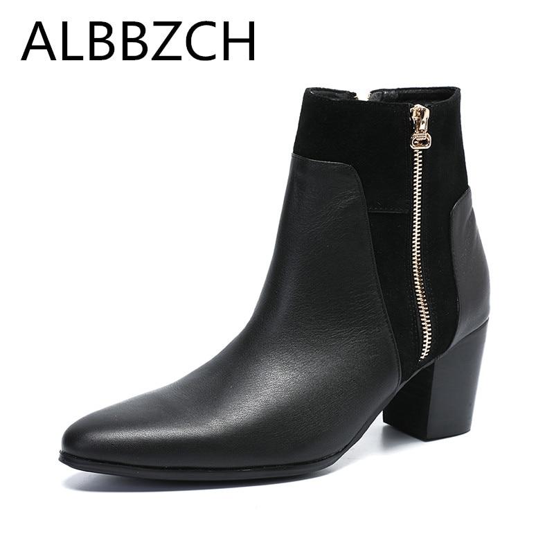 Genuine Leather Zipper Men s Ankle Boots High Heels British trend Chelsea Boots Men Business dress
