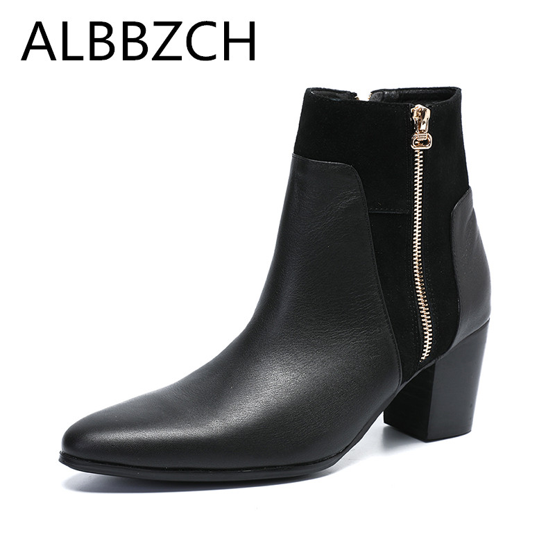 Genuine Leather Zipper Men's Ankle Boots High Heels British Trend Chelsea Boots Men Business Dress High-Top Pointed Shoes Boots