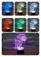 Creative 3D LED 7 color dog changing visual illusion light bedroom light action figures PMMA table lamp free shipping