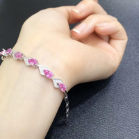 Sale Qi Xuan_Free Shipping Pink Stones Simple And Elegant Bracelets_Solid Silver Fashion Bracelets_Manufacturer Directly Sales
