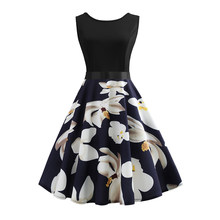 Floral Vintage Dress Women Summer Sexy Sleeveless Party Dresses Belt 50s 60s Hepburn Robe femme Big Swing Rockabilly Sundress(China)