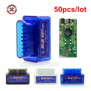 Image 1 - 50pcs/lot 2019 New V2.1 ELM327 Bluetooth Supports Multi Protocols Auto OBD2 Code Reader ELM 327 for Android DHL Free