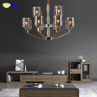 FUMAT Clear Smoky Gray Glass Color Stainless Steel Frame Chandeliers Lamps LED Hanging Light Fixture For Living Room Bedroom