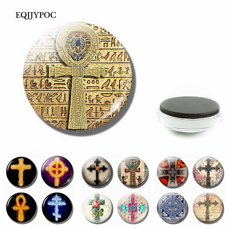 Магнитный сувенир в виде креста на холодильник, стеклянный кабошон 30 мм, наклейка на холодильник, магнитное украшение для дома, оптовая продажа
