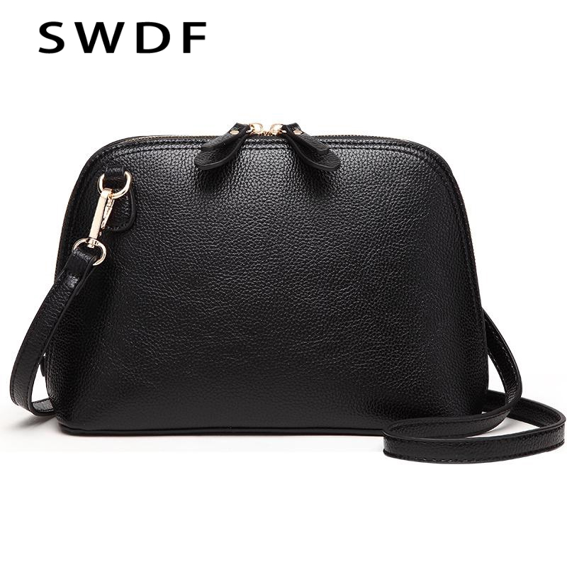 2018 New Brand Genuine Leather Women Messenger Bag High Quality Cow Leather Small Crossbody Shell Bag Women Fashion Shoulder Bag new brand genuine leather women bag fashion retro stitching serpentine quality women shoulder messenger cowhide tassel small bag