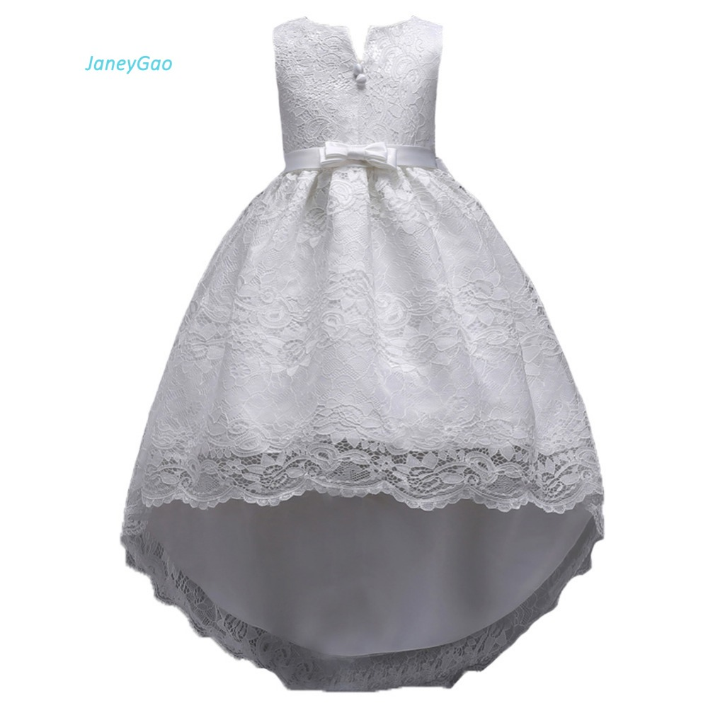 JaneyGao   Flower     Girl     Dress   For Wedding Party Elegant Front Short Long Back Low High Formal Gown For Little   Girl   First Communion