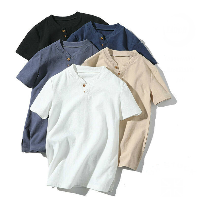 US Men's Flax Linen T-Shirt Casual V-Neck Button Down T-Shirts Slim Fit Cotton Linen Short Sleeve Basic Top