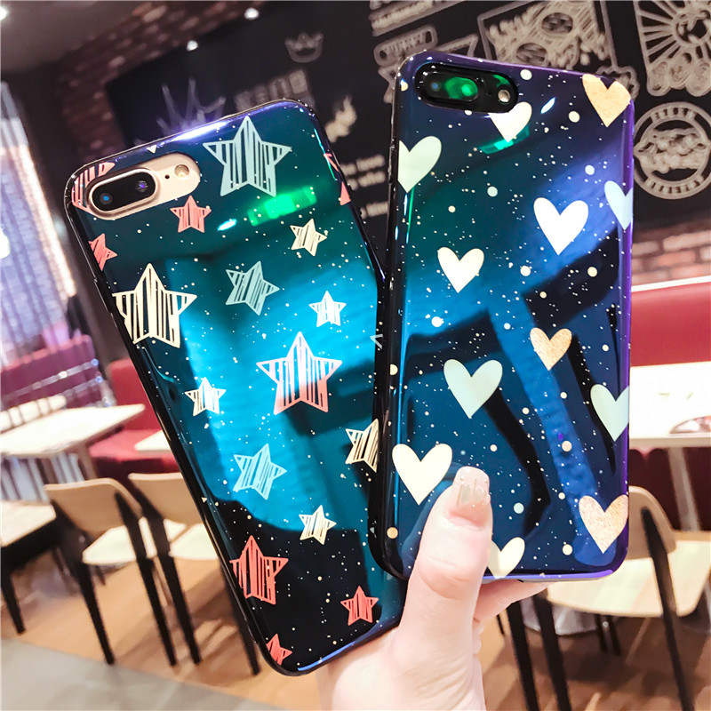 Blu Ray Mirror Phone Case For Iphone 6 6s 7 8P X Xs Xr Max Fashion Blue Mirror Anti Drop Silicone Phone Case in Fitted Cases from Cellphones Telecommunications